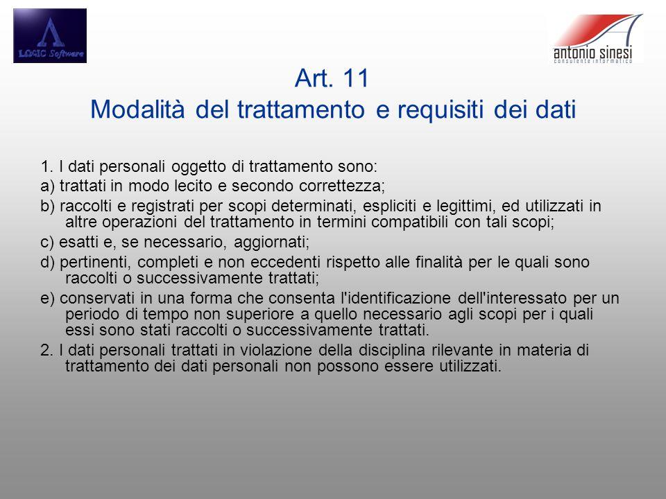 Art. 11 Modalità del trattamento e requisiti dei dati 1. I dati personali oggetto di trattamento sono: a) trattati in modo lecito e secondo correttezz