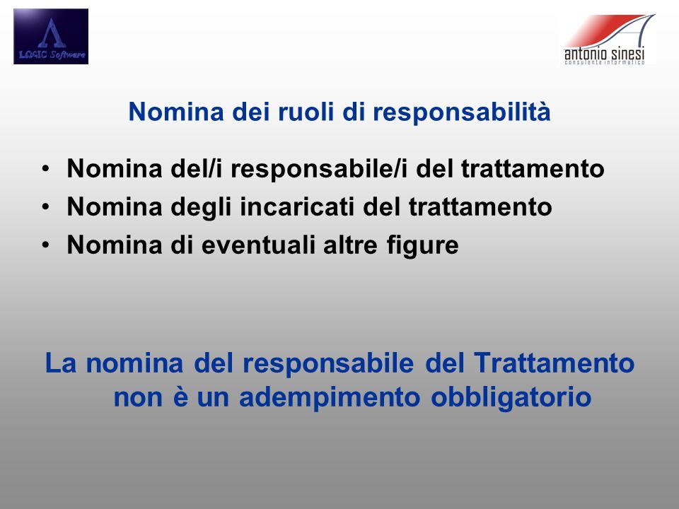 Nomina dei ruoli di responsabilità Nomina del/i responsabile/i del trattamento Nomina degli incaricati del trattamento Nomina di eventuali altre figur