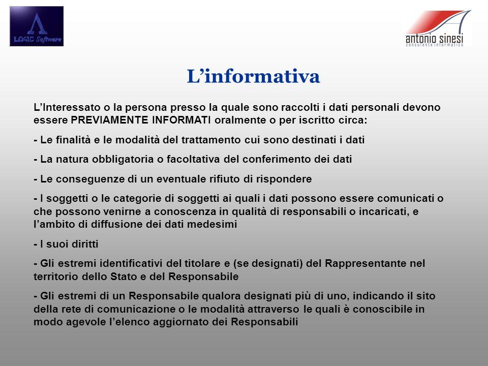 Linformativa LInteressato o la persona presso la quale sono raccolti i dati personali devono essere PREVIAMENTE INFORMATI oralmente o per iscritto cir