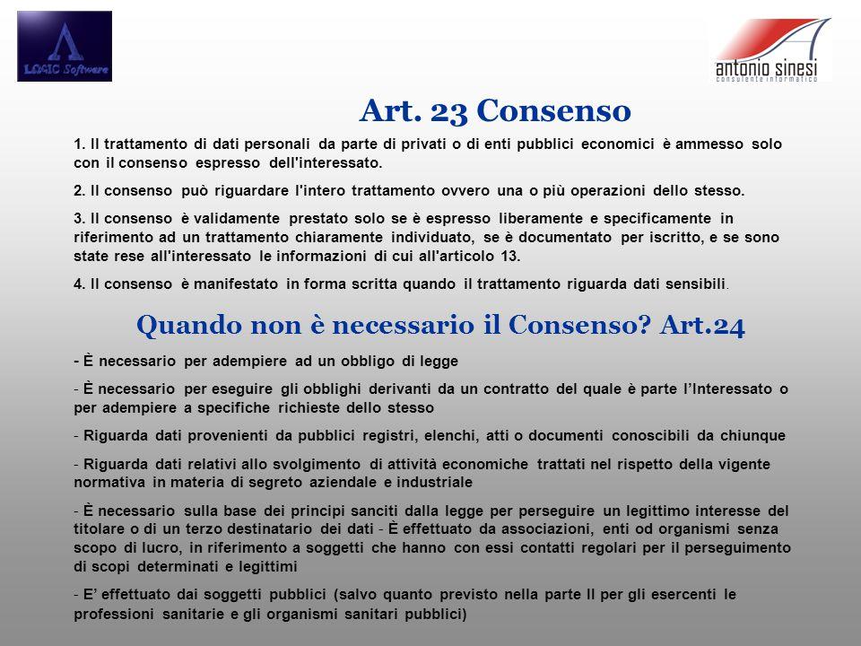 Art. 23 Consenso 1. Il trattamento di dati personali da parte di privati o di enti pubblici economici è ammesso solo con il consenso espresso dell'int
