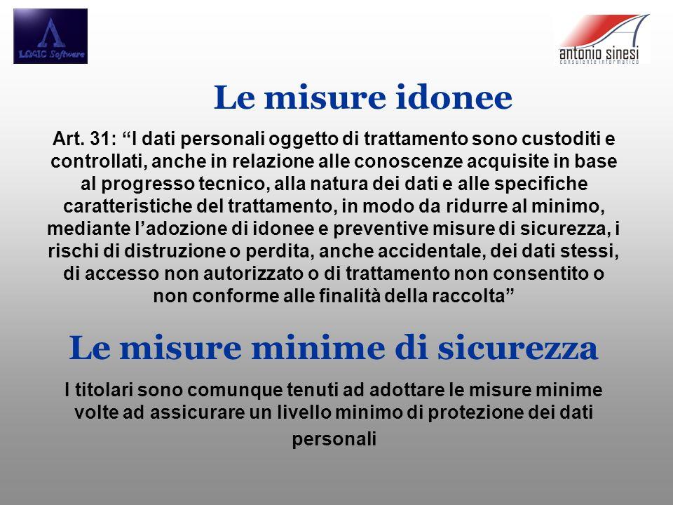 Le misure idonee Art. 31: I dati personali oggetto di trattamento sono custoditi e controllati, anche in relazione alle conoscenze acquisite in base a