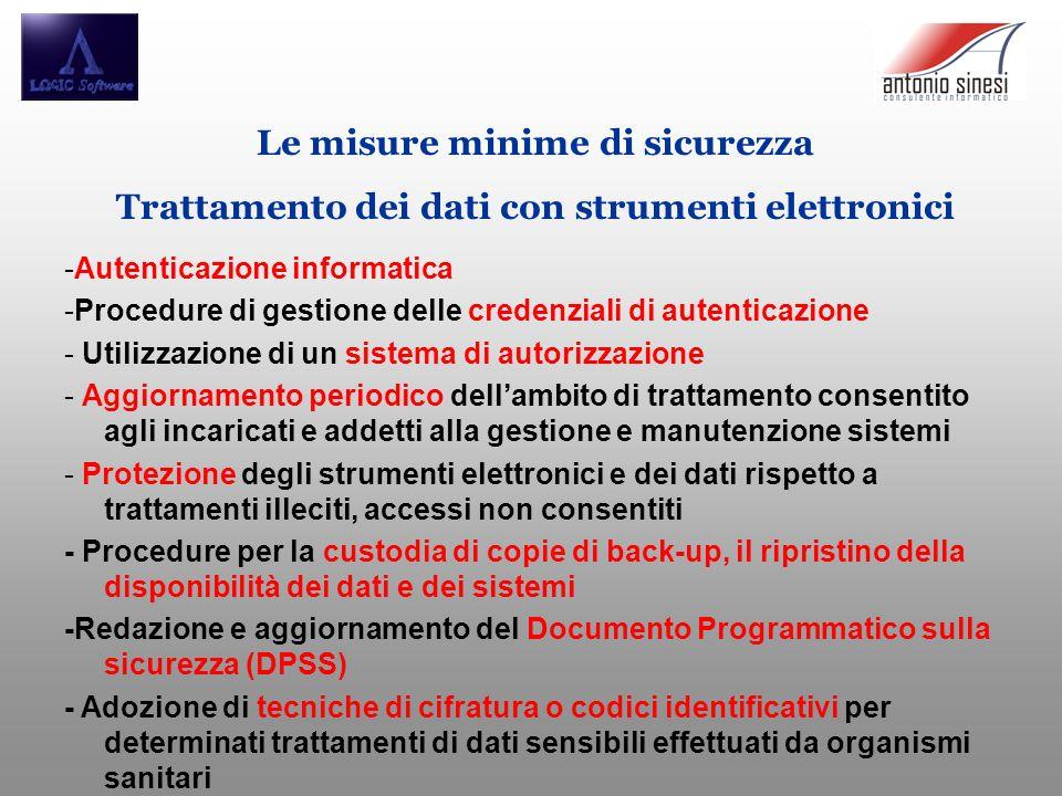 Le misure minime di sicurezza Trattamento dei dati con strumenti elettronici -Autenticazione informatica -Procedure di gestione delle credenziali di a