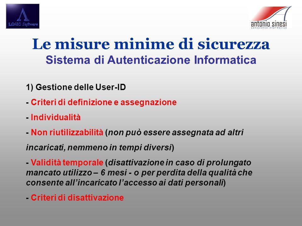Le misure minime di sicurezza Sistema di Autenticazione Informatica 1) Gestione delle User-ID - Criteri di definizione e assegnazione - Individualità