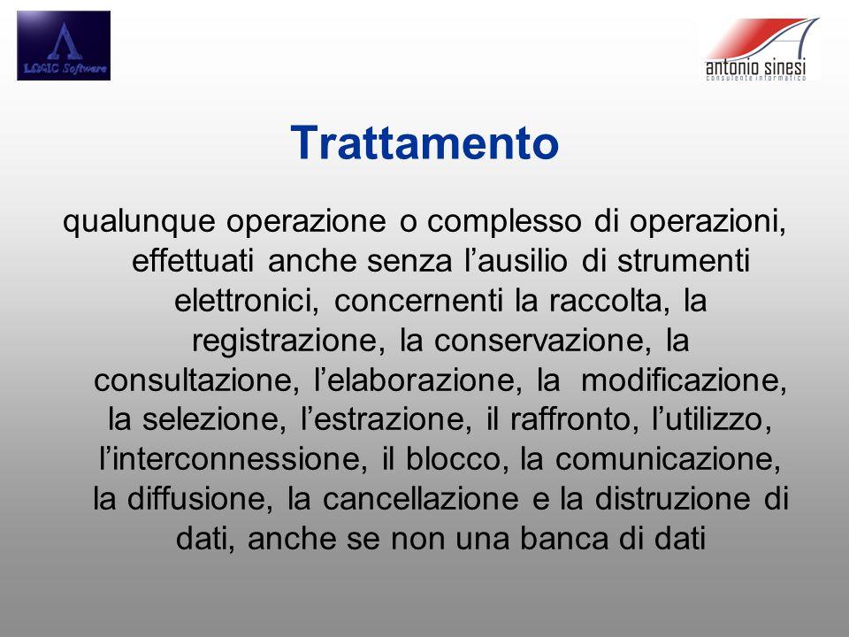 Trattamento qualunque operazione o complesso di operazioni, effettuati anche senza lausilio di strumenti elettronici, concernenti la raccolta, la regi