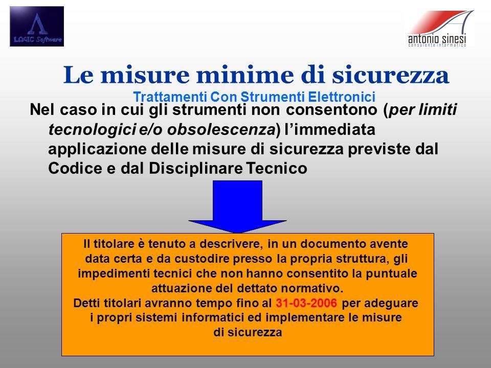 Le misure minime di sicurezza Trattamenti Con Strumenti Elettronici Nel caso in cui gli strumenti non consentono (per limiti tecnologici e/o obsolesce