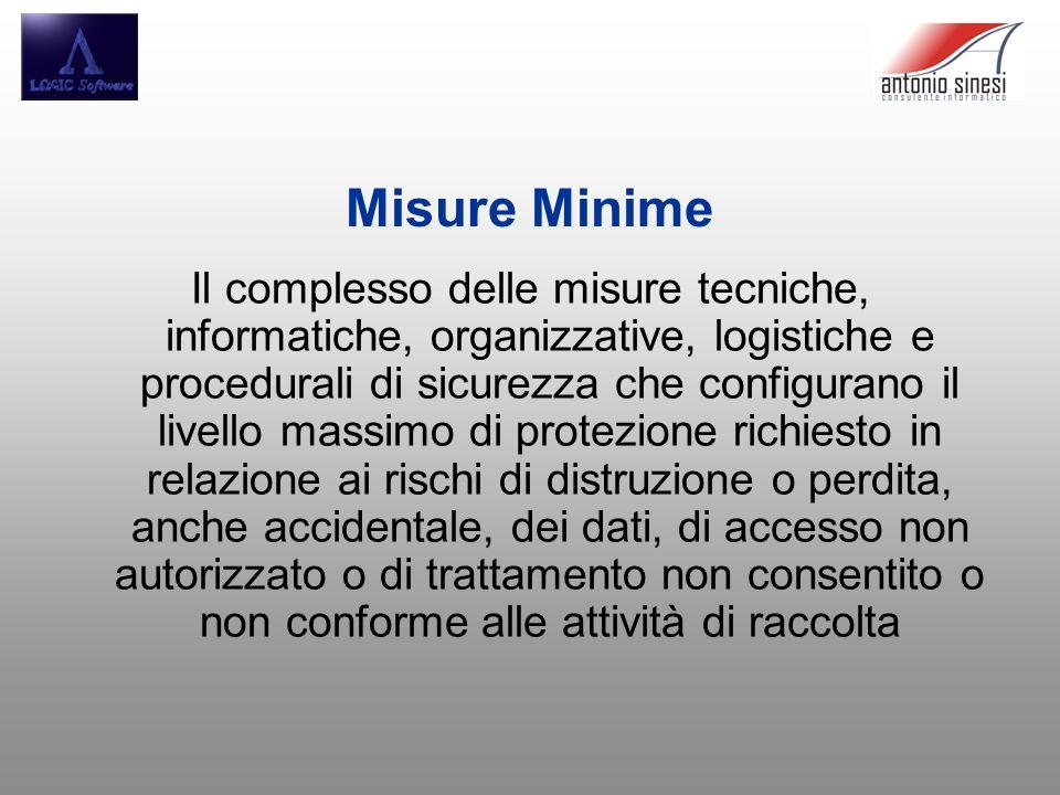 Misure Minime Il complesso delle misure tecniche, informatiche, organizzative, logistiche e procedurali di sicurezza che configurano il livello massim