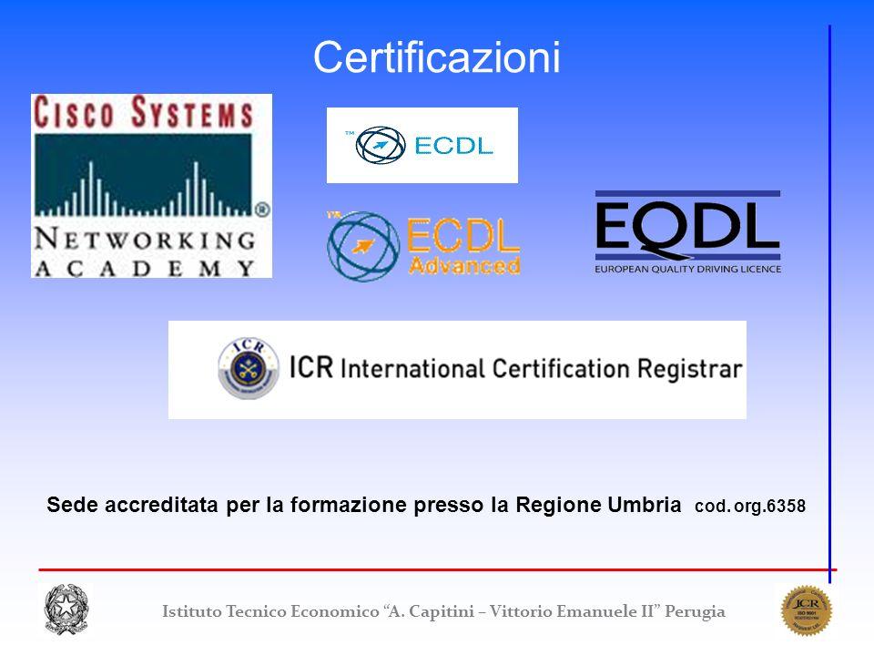 Istituto Tecnico Economico A. Capitini – Vittorio Emanuele II Perugia Certificazioni Sede accreditata per la formazione presso la Regione Umbria cod.