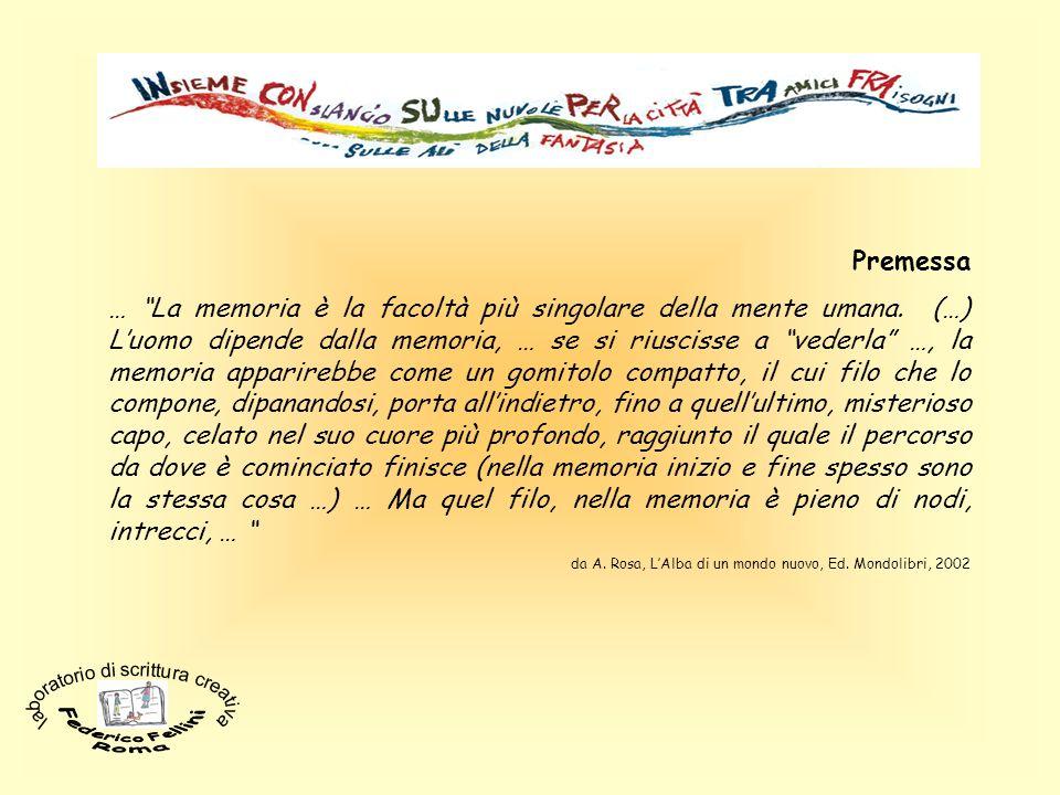 Premessa … La memoria è la facoltà più singolare della mente umana. (…) Luomo dipende dalla memoria, … se si riuscisse a vederla …, la memoria apparir