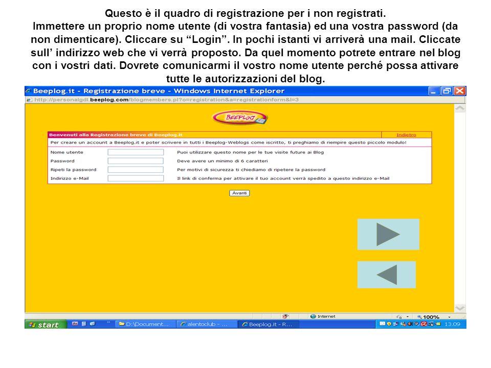 Questo è il quadro di registrazione per i non registrati.