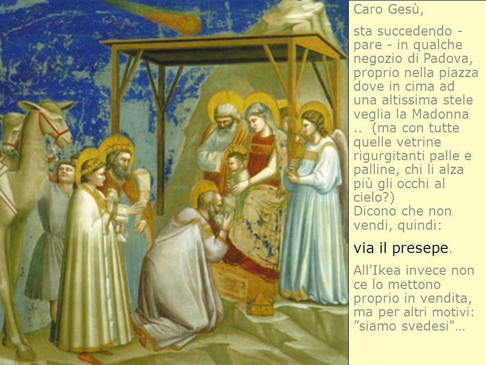 Caro Gesù, sta succedendo - pare - in qualche negozio di Padova, proprio nella piazza dove in cima ad una altissima stele veglia la Madonna.. (ma con