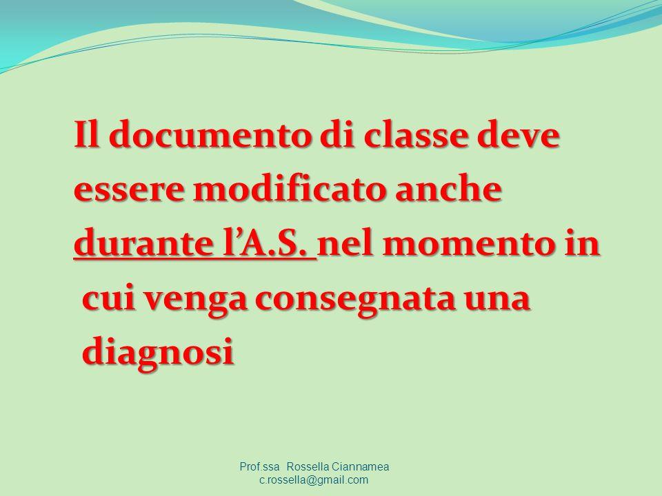 Il documento di classe deve essere modificato anche durante lA.S.