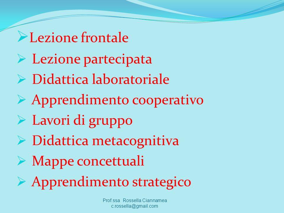 Lezione frontale Lezione partecipata Didattica laboratoriale Apprendimento cooperativo Lavori di gruppo Didattica metacognitiva Mappe concettuali Appr