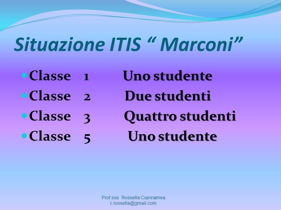 Situazione ITIS Marconi Uno studente Classe 1 Uno studente Due studenti Classe 2 Due studenti Quattro studenti Classe 3 Quattro studenti Uno studente Classe 5 Uno studente Prof.ssa Rossella Ciannamea c.rossella@gmail.com
