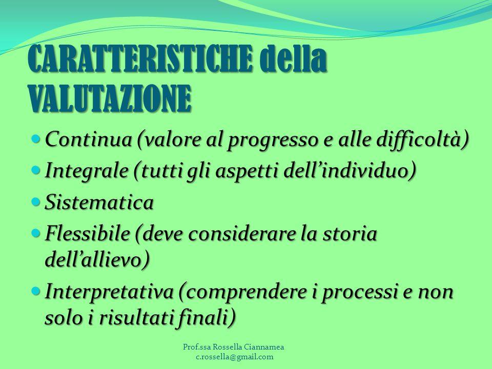 CARATTERISTICHE della VALUTAZIONE Continua (valore al progresso e alle difficoltà) Continua (valore al progresso e alle difficoltà) Integrale (tutti gli aspetti dellindividuo) Integrale (tutti gli aspetti dellindividuo) Sistematica Sistematica Flessibile (deve considerare la storia dellallievo) Flessibile (deve considerare la storia dellallievo) Interpretativa (comprendere i processi e non solo i risultati finali) Interpretativa (comprendere i processi e non solo i risultati finali) Prof.ssa Rossella Ciannamea c.rossella@gmail.com
