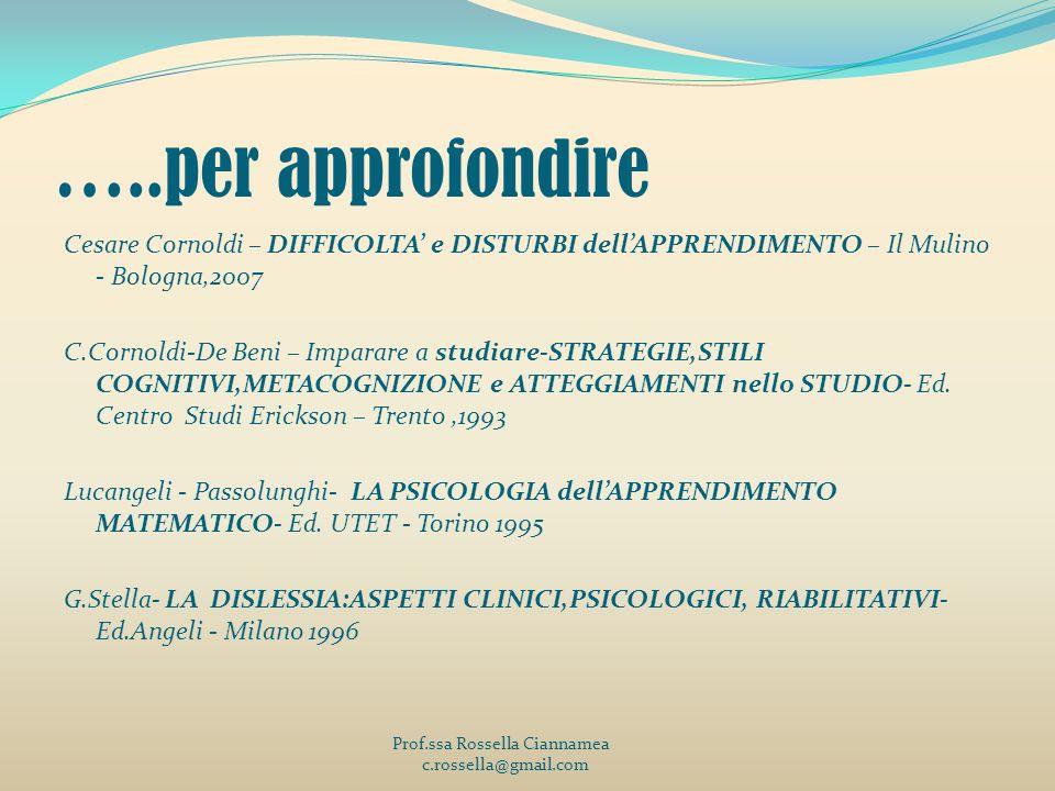 …..per approfondire Cesare Cornoldi – DIFFICOLTA e DISTURBI dellAPPRENDIMENTO – Il Mulino - Bologna,2007 C.Cornoldi-De Beni – Imparare a studiare-STRA
