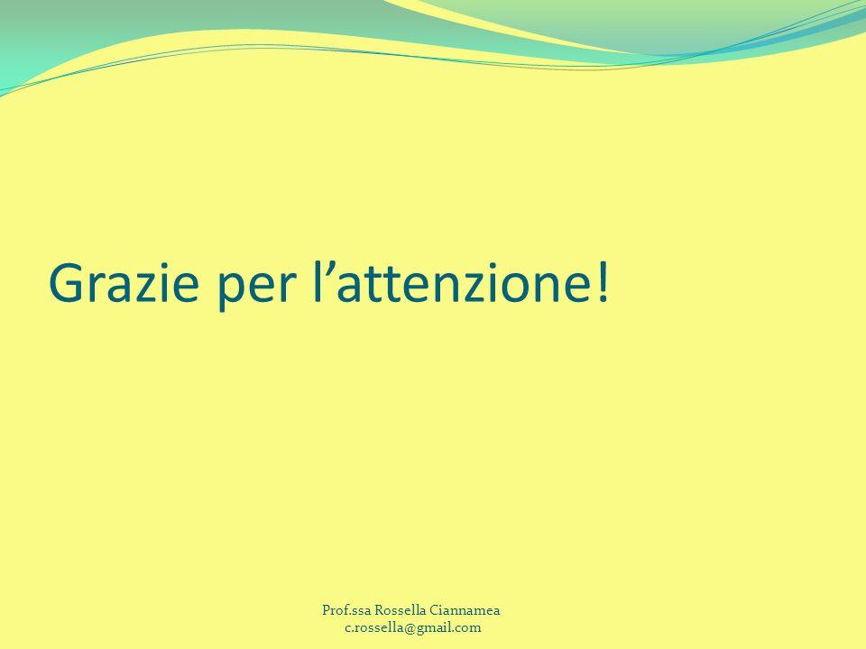 Grazie per lattenzione! Prof.ssa Rossella Ciannamea c.rossella@gmail.com