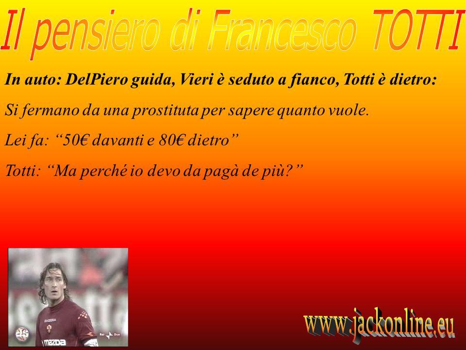 In auto: DelPiero guida, Vieri è seduto a fianco, Totti è dietro: Si fermano da una prostituta per sapere quanto vuole.