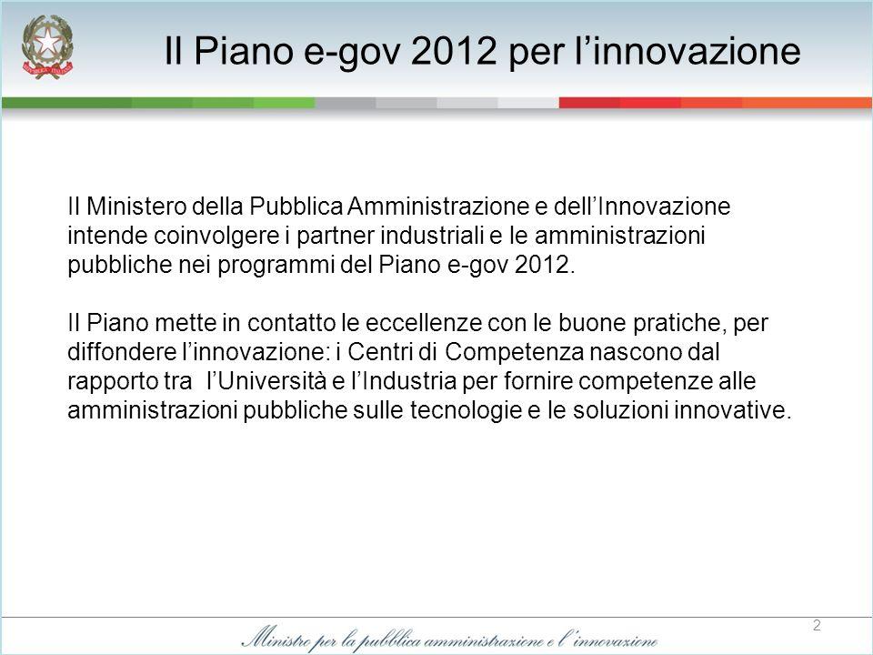 2 Il Ministero della Pubblica Amministrazione e dellInnovazione intende coinvolgere i partner industriali e le amministrazioni pubbliche nei programmi del Piano e-gov 2012.