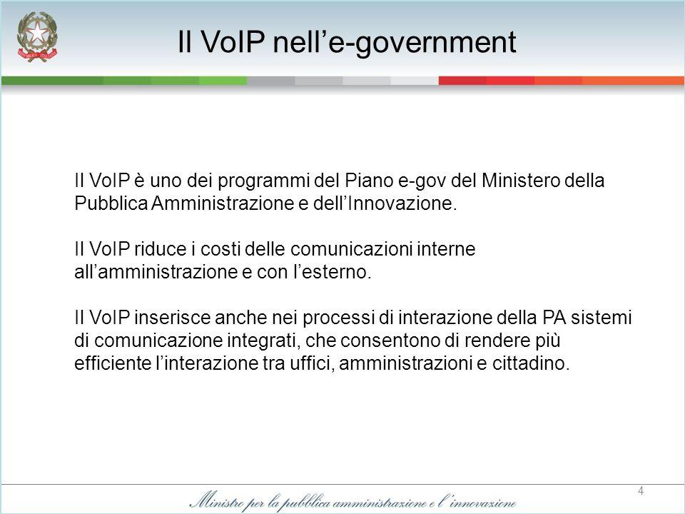 4 Il VoIP è uno dei programmi del Piano e-gov del Ministero della Pubblica Amministrazione e dellInnovazione.