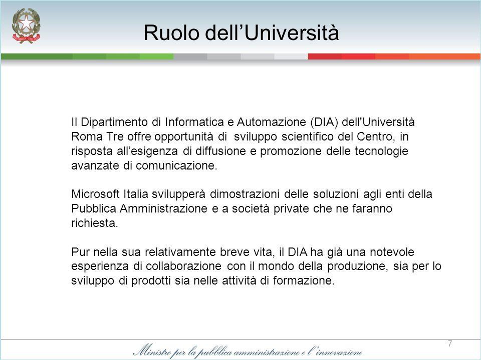 8 Il Centro di Competenza di Roma Tre è inserito nella rete dei Microsoft Innovation Center (MIC) e utilizza la positiva esperienza della partnership pubblico-privato sviluppata in particolare presso il MIC di Torino.