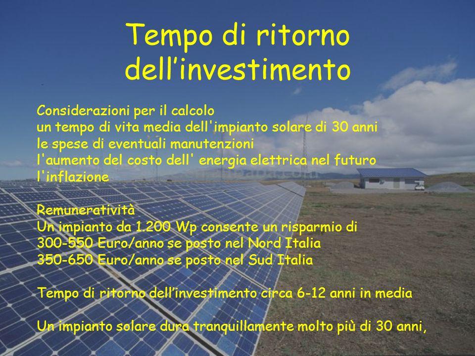 Tempo di ritorno dellinvestimento Considerazioni per il calcolo un tempo di vita media dell'impianto solare di 30 anni le spese di eventuali manutenzi