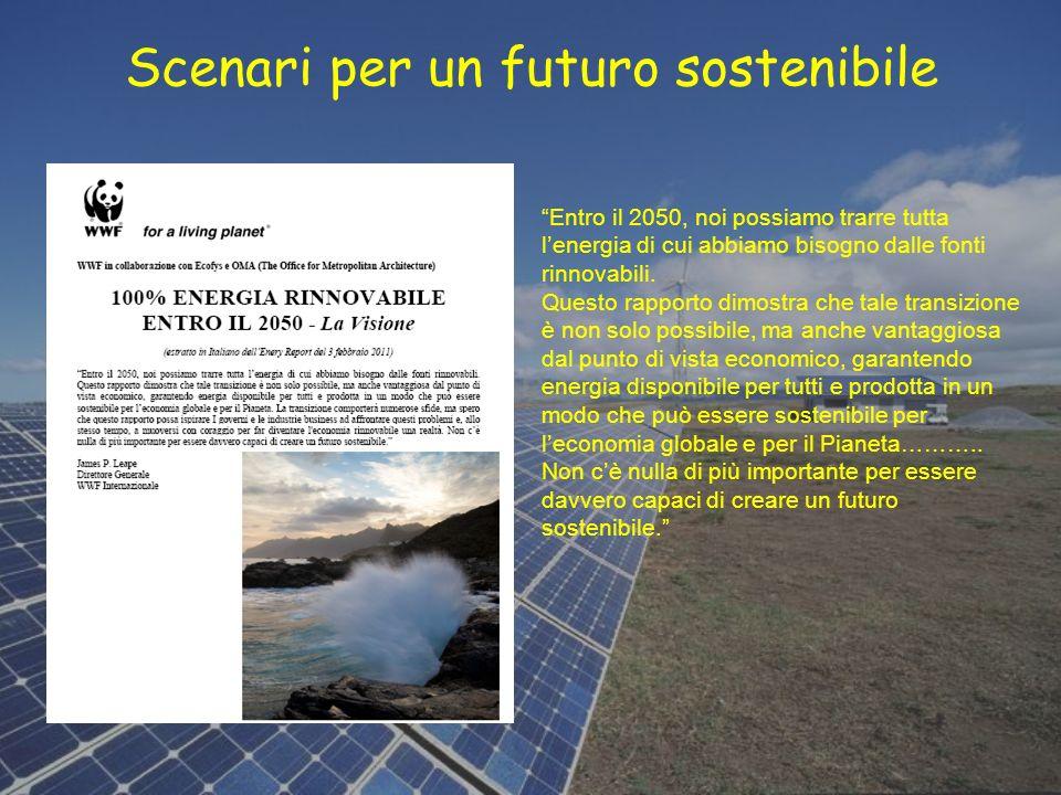 Scenari per un futuro sostenibile Entro il 2050, noi possiamo trarre tutta lenergia di cui abbiamo bisogno dalle fonti rinnovabili. Questo rapporto di