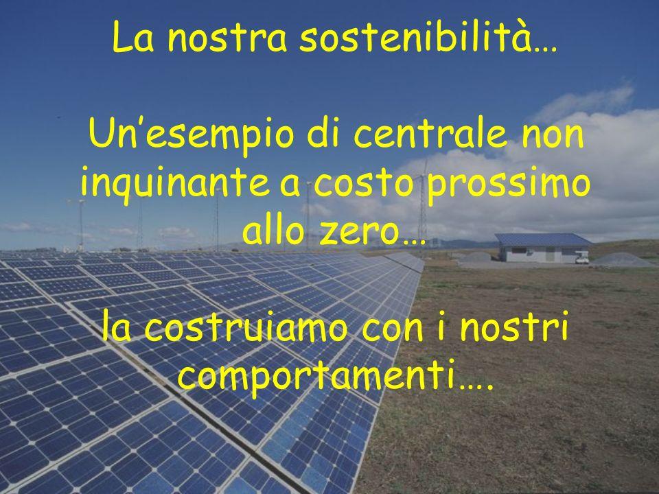 La nostra sostenibilità… Unesempio di centrale non inquinante a costo prossimo allo zero… la costruiamo con i nostri comportamenti….