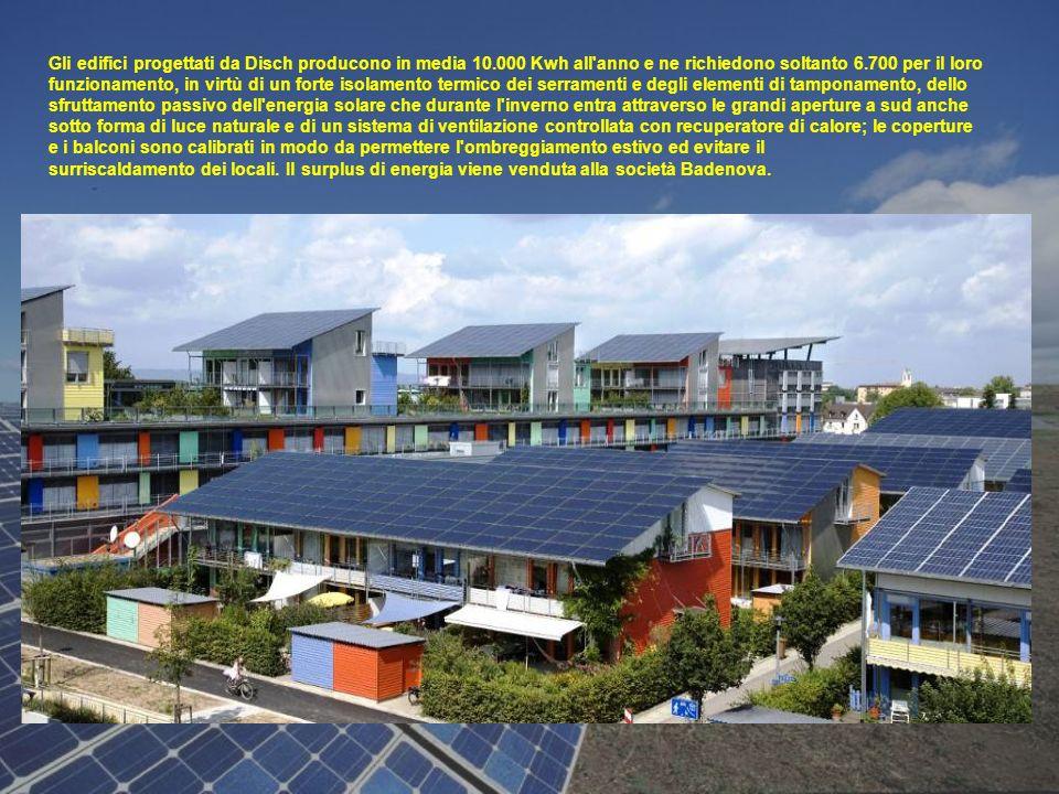 Gli edifici progettati da Disch producono in media 10.000 Kwh all'anno e ne richiedono soltanto 6.700 per il loro funzionamento, in virtù di un forte