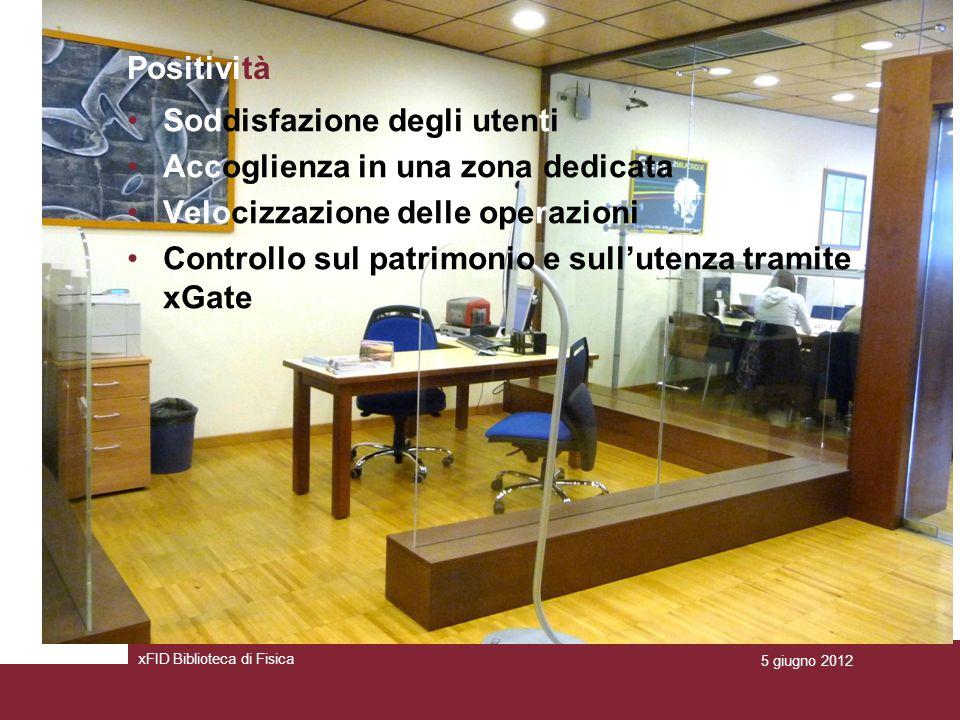 Positività Soddisfazione degli utenti Accoglienza in una zona dedicata Velocizzazione delle operazioni Controllo sul patrimonio e sullutenza tramite xGate xFID Biblioteca di Fisica 5 giugno 2012