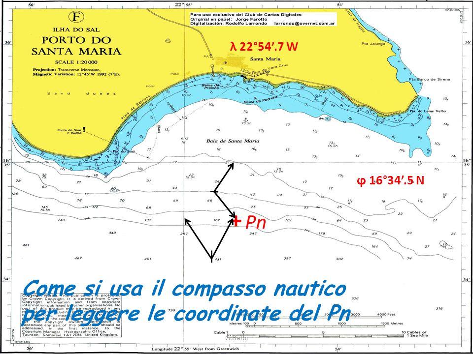 + Pn Come si usa il compasso nautico per leggere le coordinate del Pn ϕ 16°34.5 N λ 22°54.7 W G.Balbi