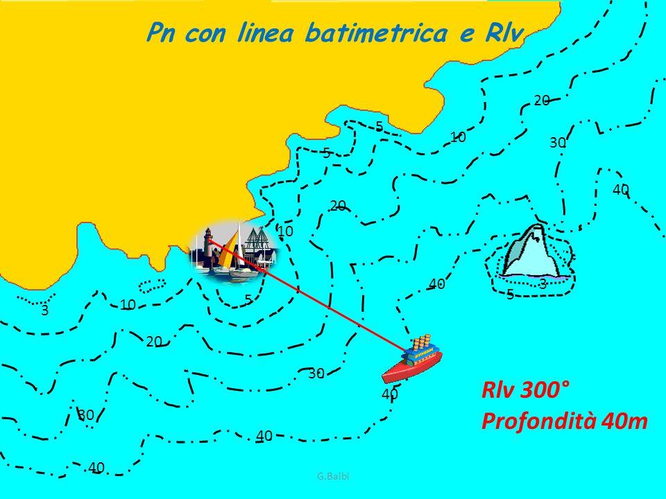 Pn con linea batimetrica e Rlv 10 5 5 5 20 10 30 3 3 5 40 Rlv 300° Profondità 40m G.Balbi