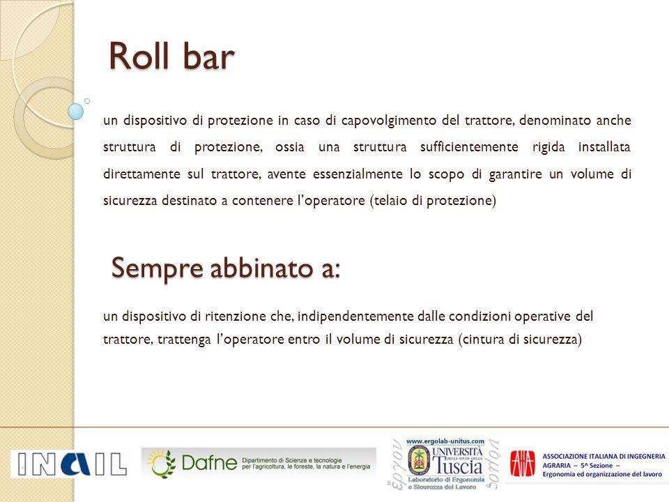 Tipologie di Roll Bar Tipologie di Roll Bar 4 montanti fissi 2 montanti posteriori 2 montanti anteriori sia fissi che abbattibili 4 montanti2 montanti anteriore2 montanti posteriore