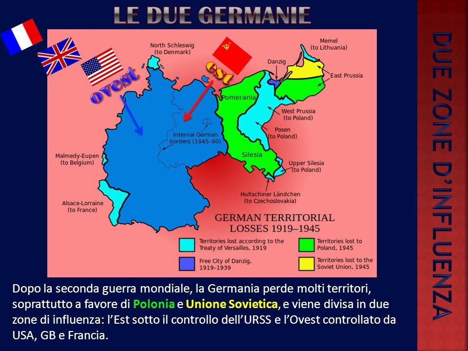 Dopo la seconda guerra mondiale, la Germania perde molti territori, soprattutto a favore di Polonia e Unione Sovietica, e viene divisa in due zone di influenza: lEst sotto il controllo dellURSS e lOvest controllato da USA, GB e Francia.