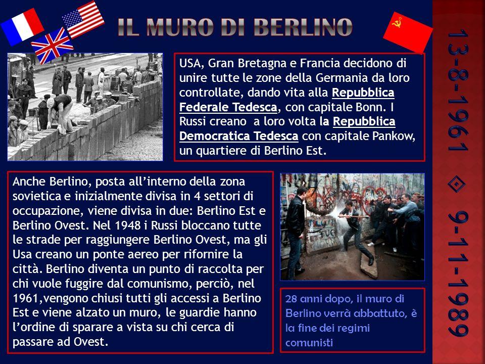 USA, Gran Bretagna e Francia decidono di unire tutte le zone della Germania da loro controllate, dando vita alla Repubblica Federale Tedesca, con capitale Bonn.