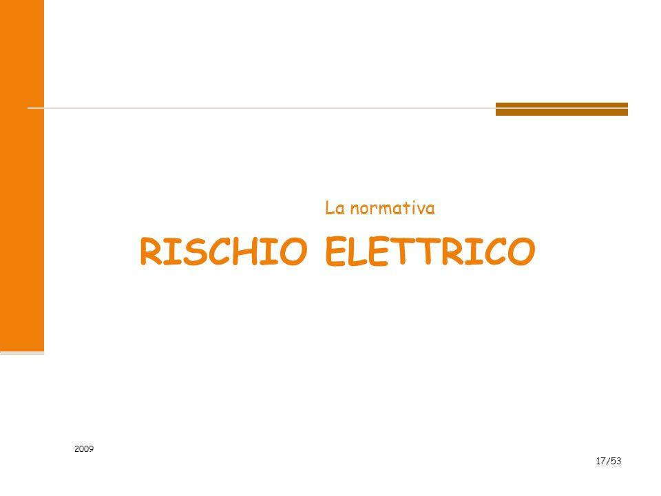 RISCHIO ELETTRICO La normativa 2009 17/53