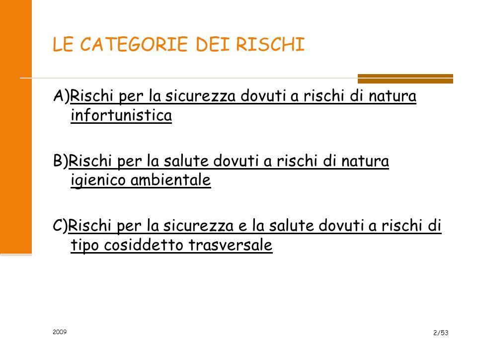 2009 2/53 LE CATEGORIE DEI RISCHI A)Rischi per la sicurezza dovuti a rischi di natura infortunistica B)Rischi per la salute dovuti a rischi di natura