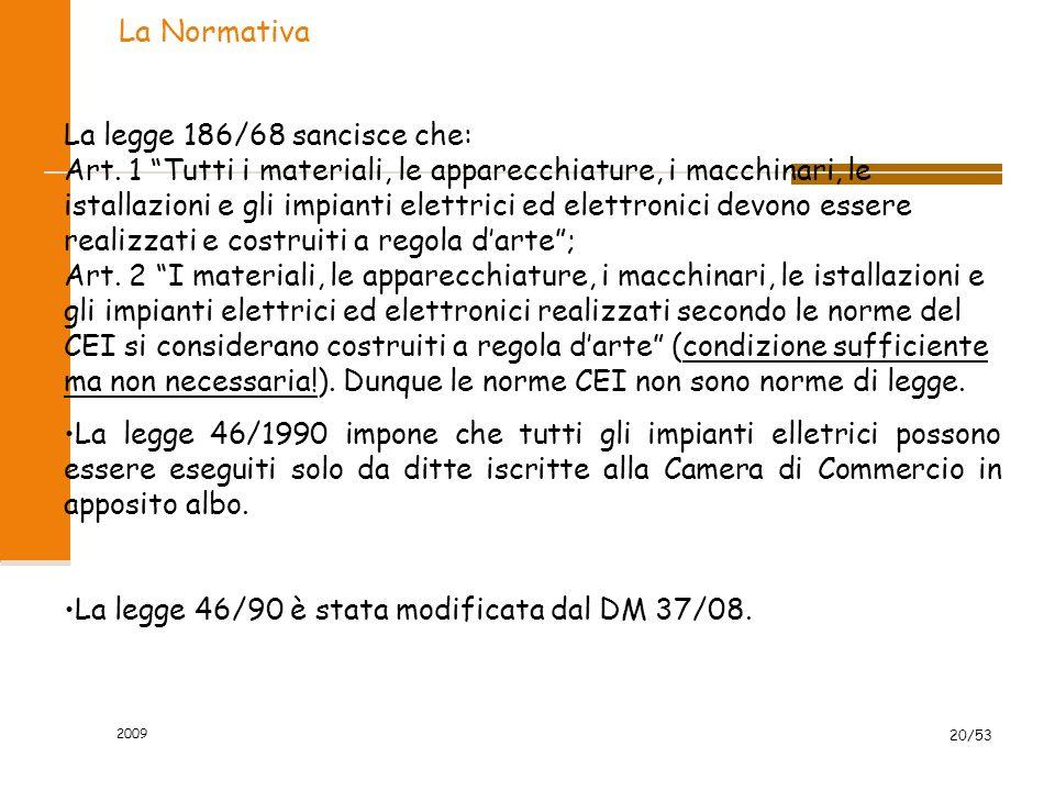 2009 20/53 La Normativa La legge 186/68 sancisce che: Art. 1 Tutti i materiali, le apparecchiature, i macchinari, le istallazioni e gli impianti elett