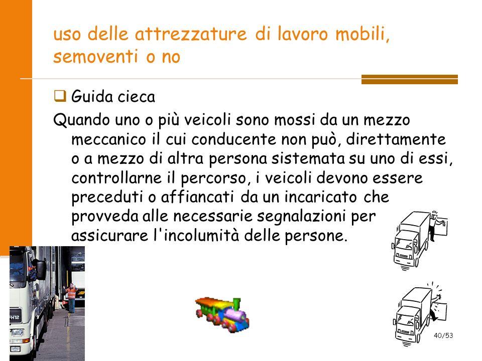 uso delle attrezzature di lavoro mobili, semoventi o no Guida cieca Quando uno o più veicoli sono mossi da un mezzo meccanico il cui conducente non pu