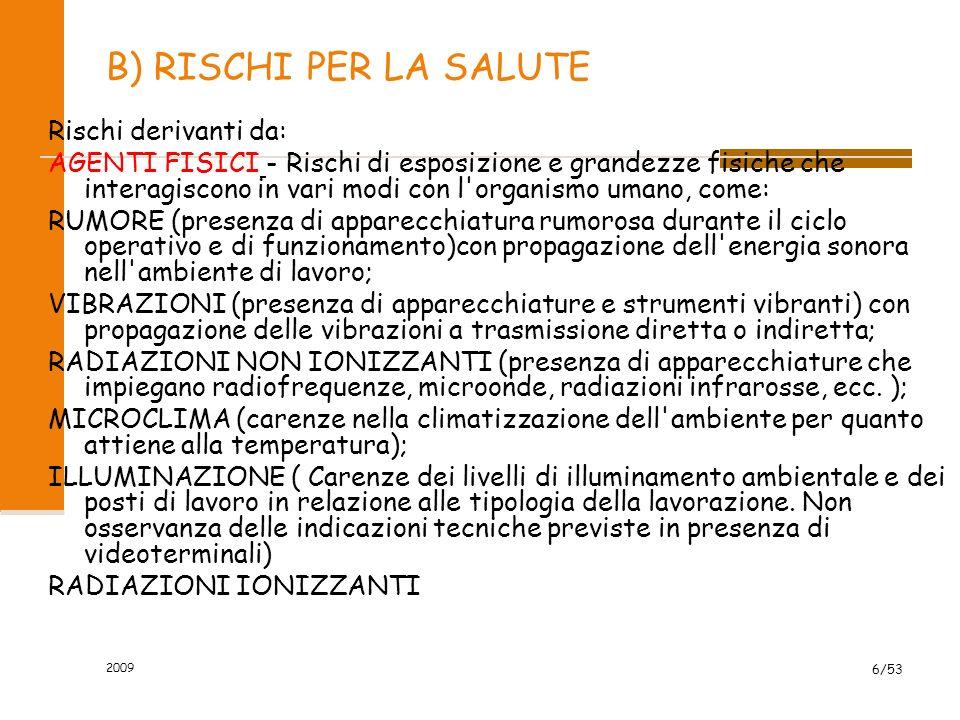 2009 6/53 B) RISCHI PER LA SALUTE Rischi derivanti da: AGENTI FISICI - Rischi di esposizione e grandezze fisiche che interagiscono in vari modi con l'