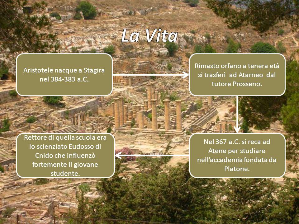 3 Aristotele nacque a Stagira nel 384-383 a.C. Rimasto orfano a tenera età si trasferì ad Atarneo dal tutore Prosseno. Nel 367 a.C. si reca ad Atene p