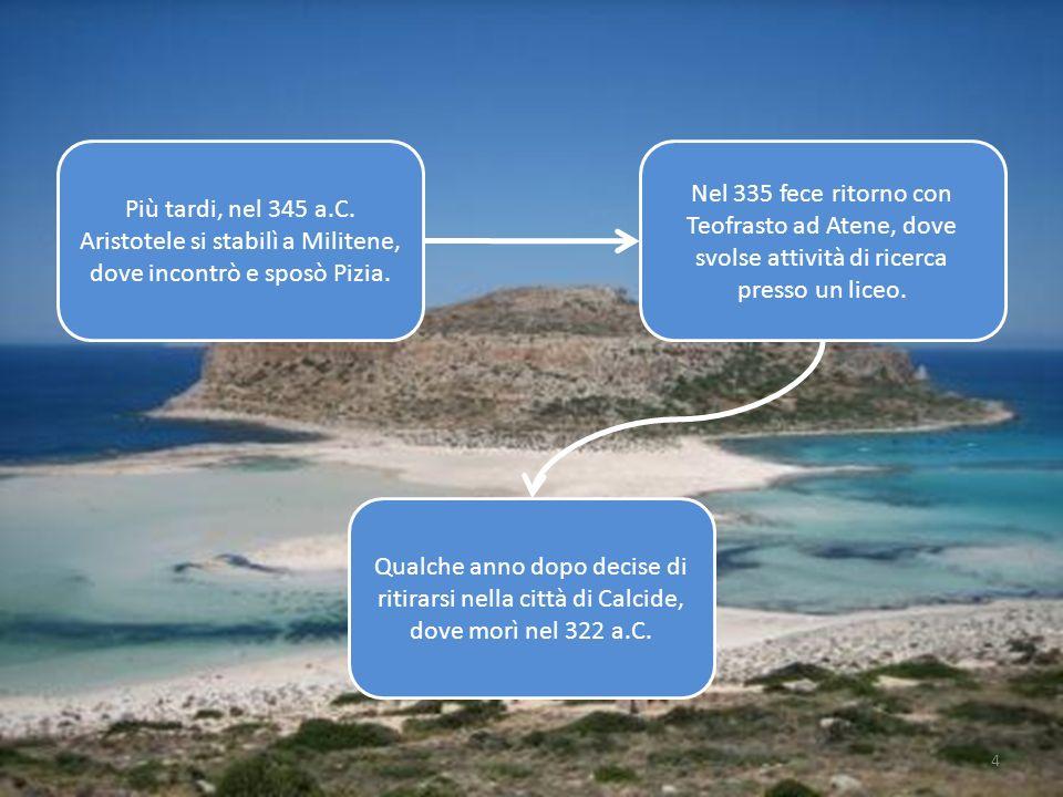 4 Più tardi, nel 345 a.C. Aristotele si stabilì a Militene, dove incontrò e sposò Pizia. Nel 335 fece ritorno con Teofrasto ad Atene, dove svolse atti