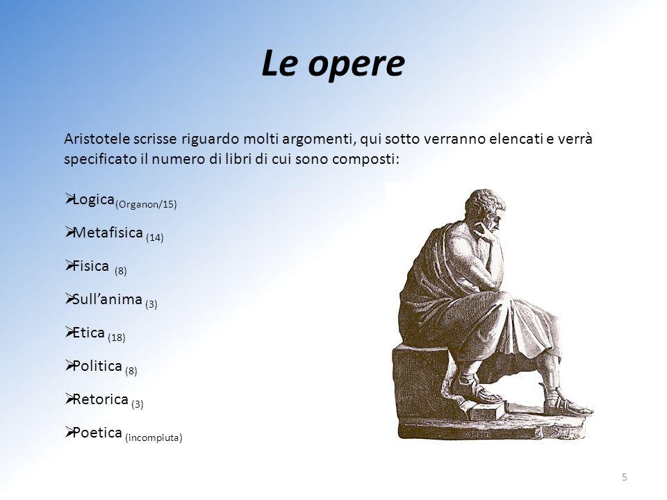 Le opere 5 Aristotele scrisse riguardo molti argomenti, qui sotto verranno elencati e verrà specificato il numero di libri di cui sono composti: Logic