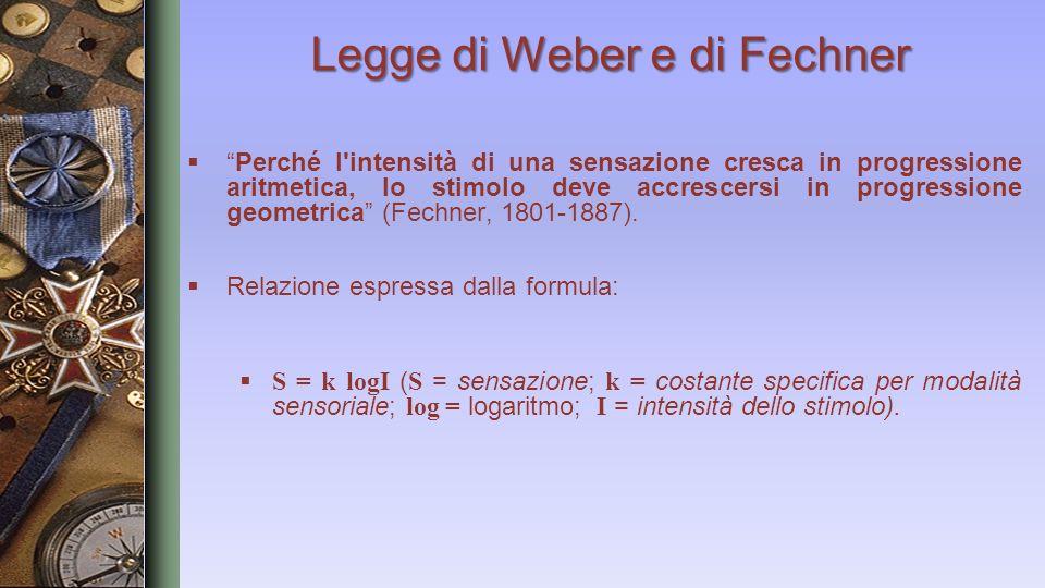 Legge di Weber e di Fechner Perché l'intensità di una sensazione cresca in progressione aritmetica, lo stimolo deve accrescersi in progressione geomet