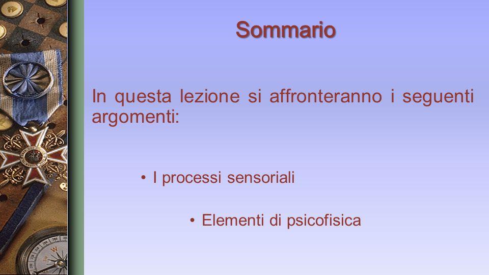 In questa lezione si affronteranno i seguenti argomenti: I processi sensoriali Elementi di psicofisica
