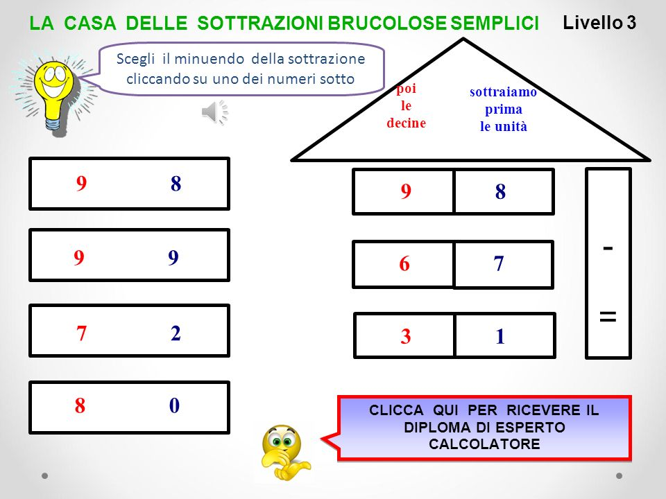 1 -=-= 5 8 2 5 7 6 1 5 6 0 6 1 LivelIo 2 LA CASA DELLE SOTTRAZIONI BRUCOLOSE SEMPLICI 6 1 sottraiamo prima le unità poi le decine Scegli il sottraendo