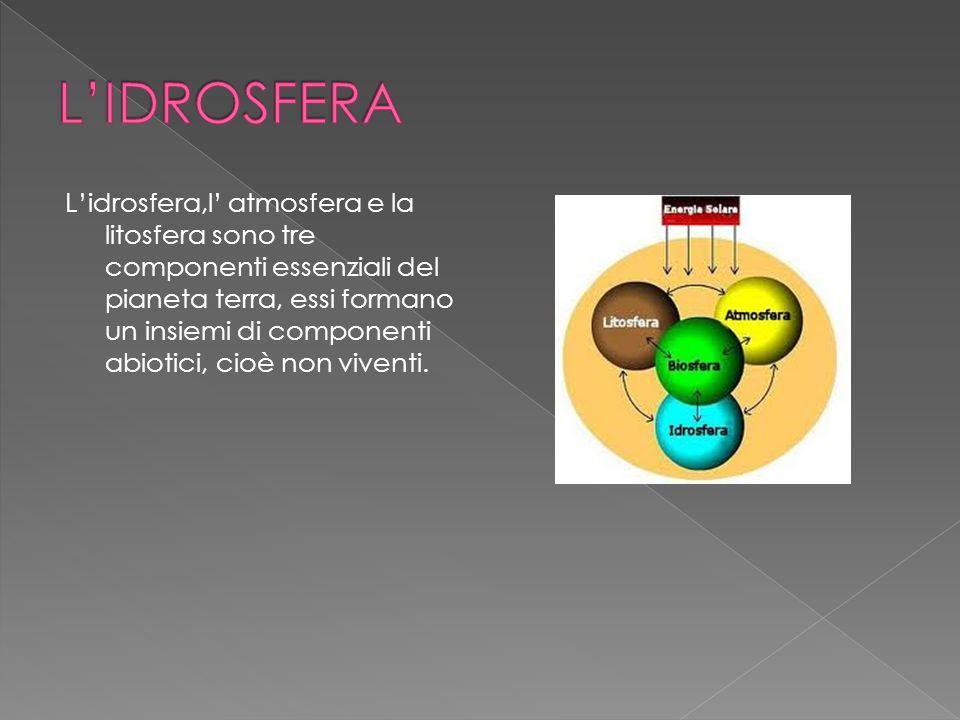 Lidrosfera,l atmosfera e la litosfera sono tre componenti essenziali del pianeta terra, essi formano un insiemi di componenti abiotici, cioè non viven
