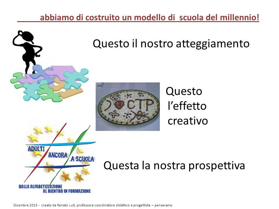 Questo il nostro atteggiamento Questo leffetto creativo Questa la nostra prospettiva abbiamo di costruito un modello di scuola del millennio.