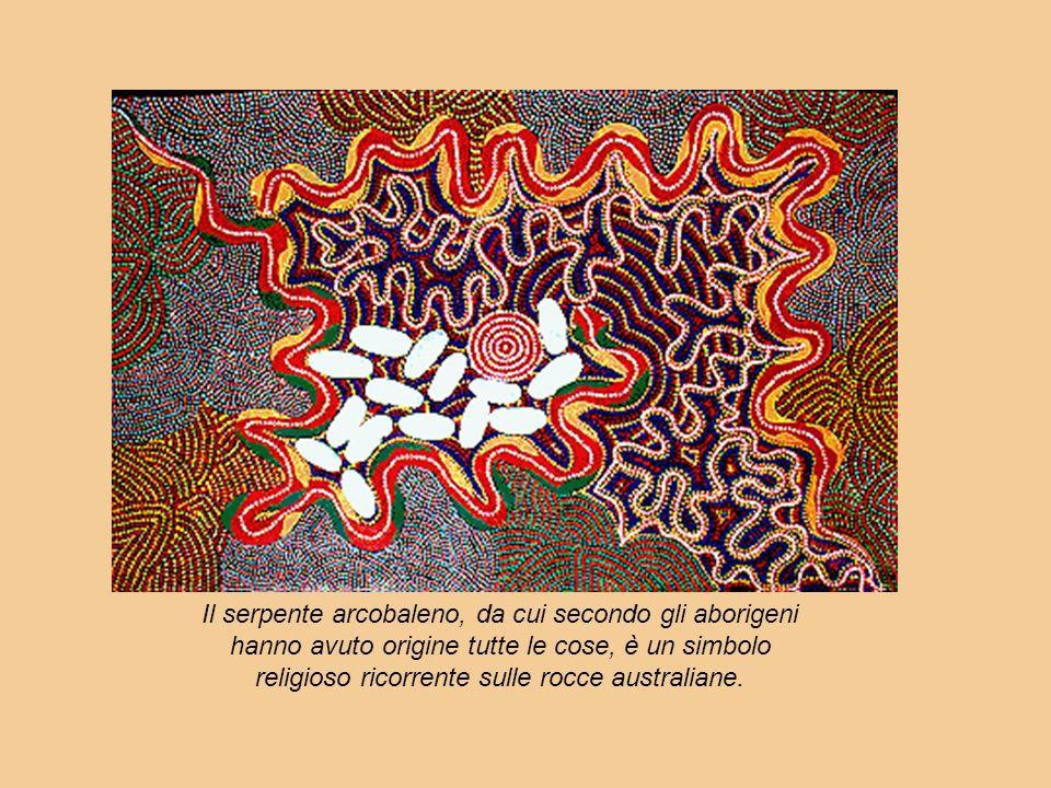 Il serpente arcobaleno, da cui secondo gli aborigeni hanno avuto origine tutte le cose, è un simbolo religioso ricorrente sulle rocce australiane.