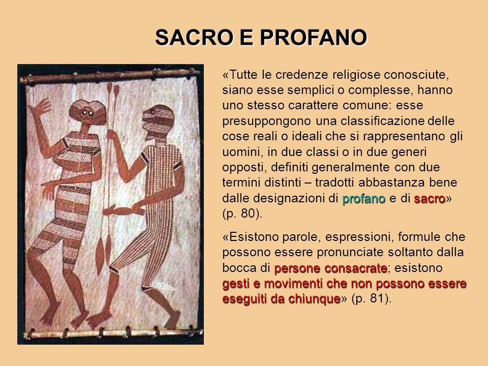 profanosacro «Tutte le credenze religiose conosciute, siano esse semplici o complesse, hanno uno stesso carattere comune: esse presuppongono una class
