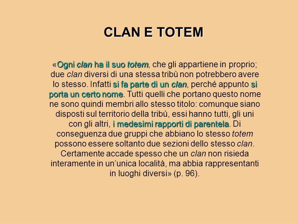 Ogni clan ha il suo totem si fa parte di un clansi porta un certo nome i medesimi rapporti di parentela «Ogni clan ha il suo totem, che gli appartiene